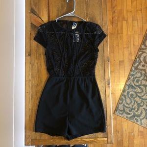 Black lace top romper